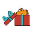 giftbox with female elegant handbag icon vector image