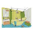 hand drawn modern bathroom interior design vector image vector image