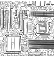 Hand drawn motherboard vector image vector image