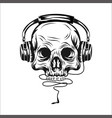 head skull with ear phone vector image vector image