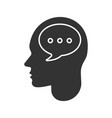 human head with speech bubble glyph icon vector image