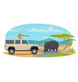 hunter on african safari hippopotamus hunt vector image