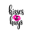 kisses and hugs lettering vector image vector image