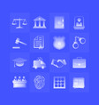 law gradient icons set on blue background vector image