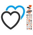 love hearts icon with valentine bonus vector image vector image