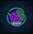 neon glowing sign of grape with bunch of grapes vector image vector image