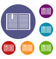 open book with a bookmark icons set vector image vector image