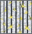 origami paper birds flying between trees pattern vector image