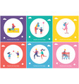 people in park resting and have fun cartoon banner vector image vector image
