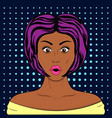 pop art style surprised pretty girl vector image vector image