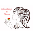 pretty girl with long hair eating strawberry cream vector image