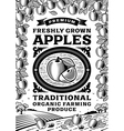 Retro apples poster black and white vector image vector image