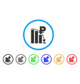 rouble panic fall chart rounded icon vector image vector image
