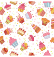 Seamless pattern with cupcakes Birthday party vector image vector image