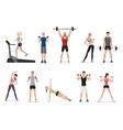 sport gym people set with dumbbells barbells