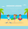 swimming lessons banner template with cute kids on vector image vector image