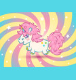 unicorn with stars in kawaii style vector image