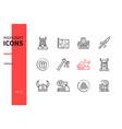 vikings - modern line design style icons set vector image