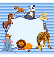 Wild animals around striped border vector image vector image