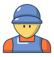 plumber man face icon cartoon style vector image