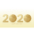 3d golden 2020 text with polygon sphere on white vector image vector image