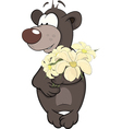 Bear cub and a flowers vector image