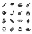 Black Cooking Equipment Icons vector image