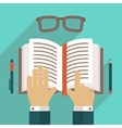 Book icon with hand vector image vector image