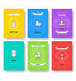 breastfeeding thin line brochure cards set child vector image