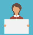 Business Woman Holding Big Blank Paper Banne vector image