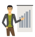 Businessman holds presentation vector image vector image