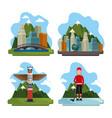 canadian landscape scene icon vector image