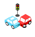 Car accident traffic light isometric vector image