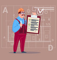 cartoon builder carpenter hold checklist vector image vector image