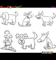 cartoon dogs characters coloring book page vector image vector image