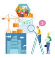 cartoon man builder explore profit diagram growth vector image vector image