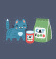 cat next to a food vector image vector image