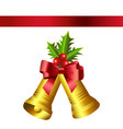 christmas gold bells and red bow vector image vector image