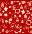 christmas red icon seamless pattern winter vector image vector image