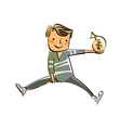 Close-up of boy holding bag of dollar vector image