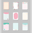 collection of cute cards with place for notes vector image vector image