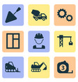 construction icons set with bulldozer concrete vector image