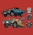 custom cars and parts colorful concept vector image vector image