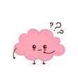 cute smiling happy funny brain vector image vector image