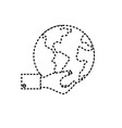 dotted shape man hand with global earth planet vector image