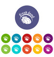 farm fresh food icons set color vector image vector image