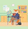 fox schoolgirl with handbag sitting at a desk vector image vector image