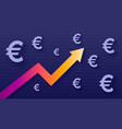 graph show value growth euro modern trendy vector image