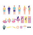 group young people with beach costumes bundle vector image