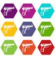 gun icon set color hexahedron vector image vector image